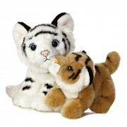 Aurora World Miyoni Unlikely Friends White Tiger and Bengal Tiger Cub Plush, 12""