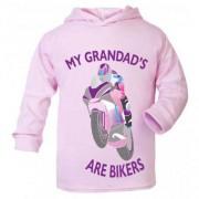O - My Grandad is a biker motorcycle toddler baby childrens kids pink hoodie 100% cotton