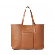 Polo Ralph Lauren Pebbled Leather Medium Tote - Cuoio - Size: One Size