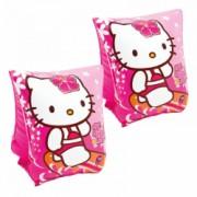 Set compus din aripioare plutituoare pentru inot 23 x 15 cm Hello Kitty + minge de plaja Hello Kitty 61 cm din plastic rezistent