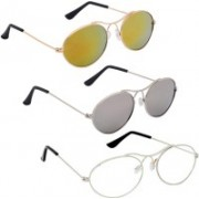 Phenomenal Oval Sunglasses(Yellow, Silver, Clear)