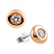 Zilveren Oorknoppen Solitaire Rosé-goud plated 'Donut' 806.0351.00