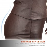 EH Mujeres Lady Estiramiento Alta Cintura Lápiz Falda Rodilla-longitud Vestido Sexy Vestido Envuelto XXL - Color Café