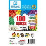 100 2x4 dot / stud Bricks - Toy Building Blocks - WHITE - Compatible - STEM - Great Creative Box from Brick Loot