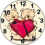 ske 3D teddy with friend wall clock