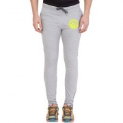 Cliths Grey Melange Slim Fit Zeep Printed Trackpant for Men