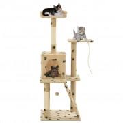 vidaXL Arbre à chat avec griffoirs en sisal 120 cm Beige Motif pattes