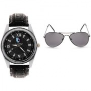 CALIBRO Men's Black watch Black Aviator Sunglass