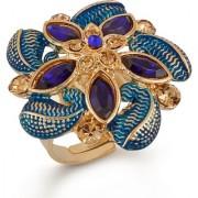 VK Jewels Multi Paisley Pattern Flower Alloy Cubic Zirconia Ethnic Adjustable Ring for Girls & Women - VKFR2945G-BLUE
