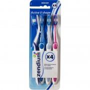 Zendium Active V Shape Medium Tandbørste 4-Pak 4 stk Toothbrush
