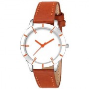 Lava Creation Stylish Brown Strap With Round Dial Girls Wrist Watch For Women ( cut glass-brown white dial )