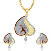 Sukkhi Angelic Gold And Rhodium Plated CZ Pendant Set For Women