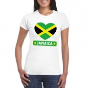 Shoppartners Jamaicaanse vlag in hartje shirt wit dames