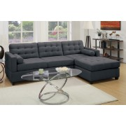 2 pc manhattan collection reversible slate black linen like fabric upholstered sectional sofa with reversible chaise