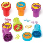 Baker Ross Dinosaur Self-Inking Stampers - 10 Stampers. Size 20mm. Assorted ink colours and designs - kids painting craft. Supplied in case with lid.