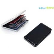 Billionbag New Steel Plain Business Purpose Visa ATM & Soft Black Leather Business Visiting 6 Card Holder(Set of 2, Multicolor)