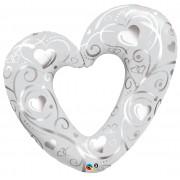 Hearts & Filigree Pearl White Super Shape Foil Balloon
