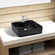 vidaXL Ceramic Bathroom Sink Basin with Faucet Hole Black Square