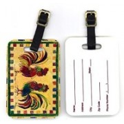 Caroline's Treasures 8062BT 4 x 2.75 in. Pair of Bird Rooster Luggage Tag(Multicolor)