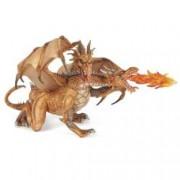 Figurina Papo-Dragon auriu cu 2 capete