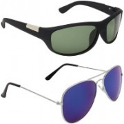 BULL - I Aviator, Wayfarer Sunglasses(Blue, Green)