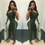 Senoras Sexy Slim Strap atar Spandex pantalones siameses - Verde (M)