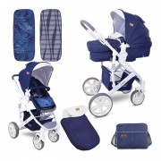 Carucior transformabil 2 in 1 Verso Dark Blue Flowers