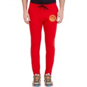 Cliths Men's Red Cotton Zeep Printed Jogger
