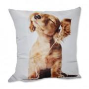 Almofada Cachorro com Fone Filhote Marrom 42x42cm Uniart