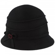Hut-Breiter Kleine Damen Glocke mit Biesen und modischer Schleife / Hut-Breiter Marine onesize