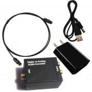 Poder Toslink Digital Coaxial óptico Al Adaptador Audio Analógico Convertidor RCA L / R