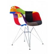Replica Eames DAR Eiffel Armchair - patchwork - plastic, chrome legs