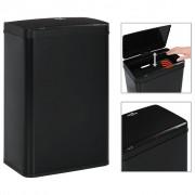 vidaXL Кош за смет с автоматичен сензор черен неръждаема стомана 60 л