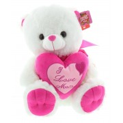 White and Pink I Love MOM Plush Teddy Bear Soft Toy