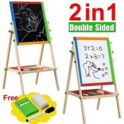 SSVE New Double Sided Black and White Wooden Easel Drawing Board Children Kids Chalkboard Set with Dry Erase Painting Artist Art Deluxe Standing 2 in 1 Flip-Over Reversible Adjustable Height