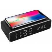 Ceas digital LCD cu alarma si incarcare wireless 5W Negru, Gembird DAC-WPC-01