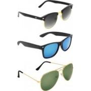 Zyaden Clubmaster, Wayfarer, Aviator Sunglasses(Black, Blue, Green)