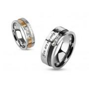 8 mm - Igaz szerelmem- Fekete és ezüst színű nemesacél gyűrű ékszer