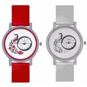 KAJARU Peacock Red And White Colour Round Dial Analog Watches Combo For Girls And Womens