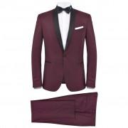 vidaXL Мъжки смокинг костюм от 2 части, 56 размер, бордо