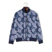 【70%OFF】フラワー柄 ジップアップ ジャケット ブルー 48 ファッション > メンズウエア~~ジャケット