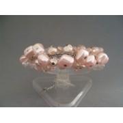 Bratara bijuterie argintie cu perlute si cristale roz