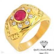 Сребърен пръстен с естествени рубин и топази