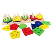 SUNONE11 Baby Early Education Toys Wooden Color Recognition Shape Sorter Colorful Geometric Sorting Board Block...