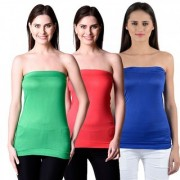 NumBrave Womens Green Red Blue Tube Top (Combo of 3)