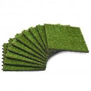 vidaXL Artificial Grass Tiles 10 pcs 30x30 cm Green
