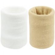 Neska Moda Unisex White And Beige Pack Of 2 Cotton Wrist Band