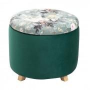 IDIMEX Tabouret de rangement BONITO avec motifs fleurs, en velours vert