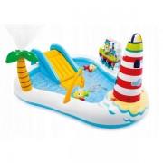 Piscina gonflabila pentru copii cu tobogan pescar Intex 57162NP