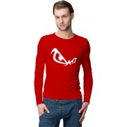 Cliths Red Round Neck Full Sleeves Cotton Printed Tshirts for Men